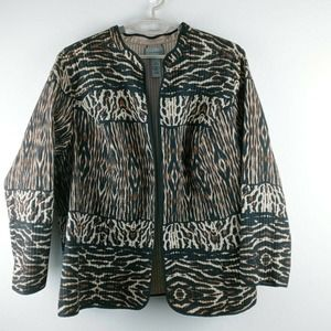 Catherines animal print quilted open front jacket